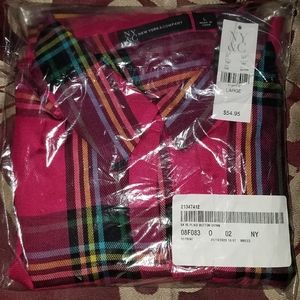 NEW Women's NY&C pink Plaid Button Down Top Large